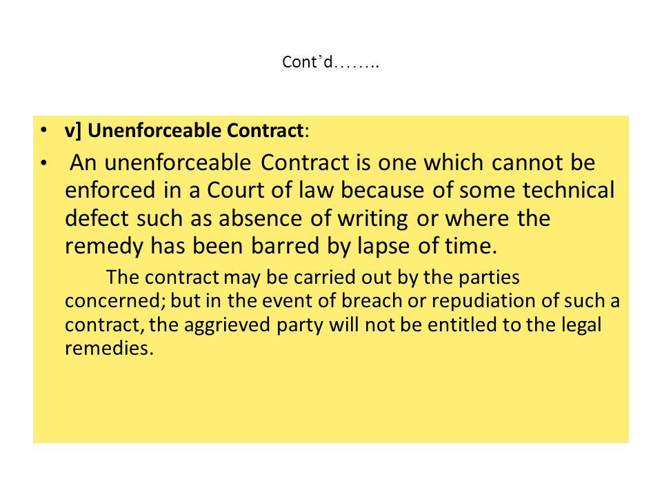 v] Unenforceable Contract: